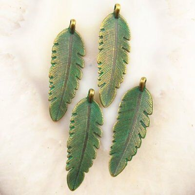 4Pcs 44x14x3mm Carved Brass Bronze Feather Pendant Bead Y40754