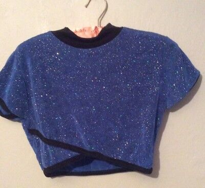 BODY WRAPPERS BLUE SPARKLY TOP, girls large