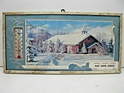 Vintage Scenic Advertising Thermometer Ruse Super Service Tabor Iowa