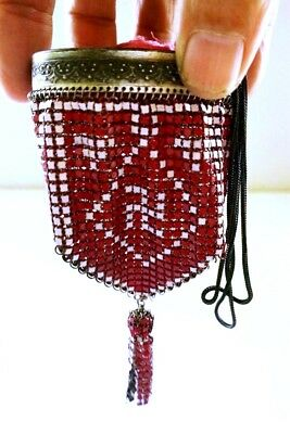 Antique WHITING & DAVIS Enamel Mesh Delsea Pre Swastika WHIRLING LOG Coin Purse