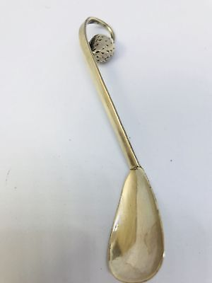 Antique Strawberry Design Curved Sterling Silver Baby/Sugar Souvenir Spoon