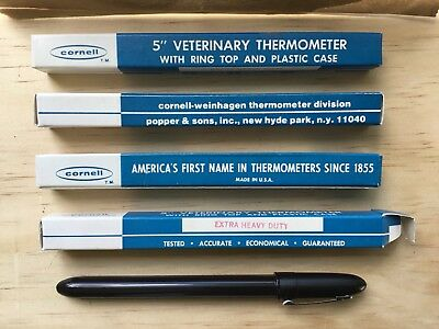 Lot Of 4 Vintage NOS U.S.A. Cornell Veterinary Rectal Thermometer Case&Box