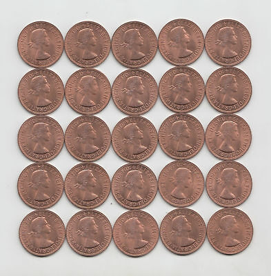 (Km-897) Lot Of 25 Coins --- Great Britain 1964 Large Penny --- Sharp Unc