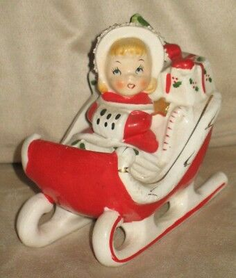 VTG- Relco *GIRL IN RED SLEIGH W/ CANDY CANE FIGURINE* Xmas Lady Figure- JAPAN