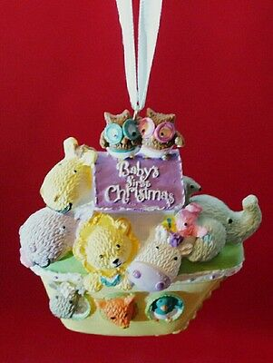 """Noahs Ark Baby First CHRISTMAS Animal Holiday Resin 3.5"""" Ornament Shower Gift"""