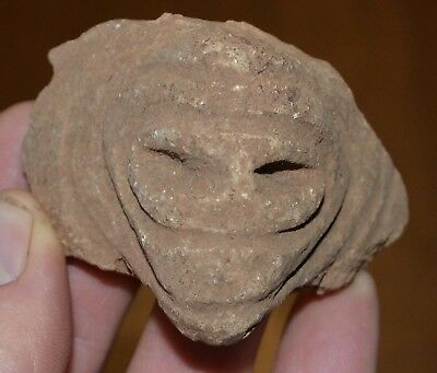 Authentic Pre Columbian Taino Head Pottery Artifact