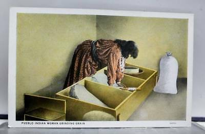 Scenic Pueblo Indian Woman Grinding Grain Postcard Old Vintage Card View Post PC