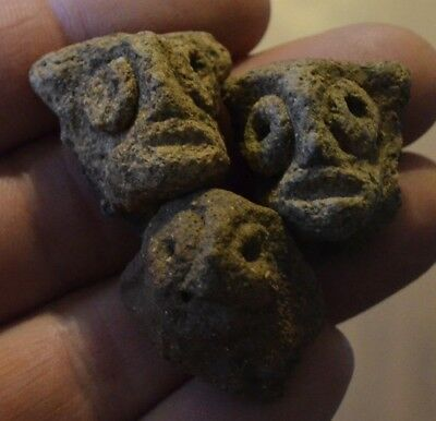 3 Authentic Pre Columbian Taino Head Pottery Artifact