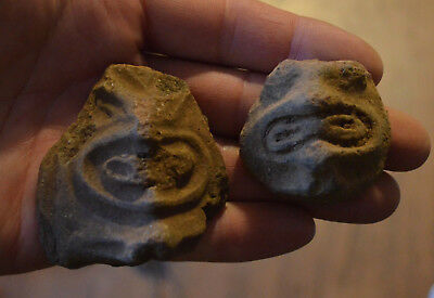 2 Authentic Pre Columbian Taino Head Pottery Artifact