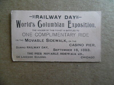 1893 Movable Sidewalk Ride Ticket WCE Chicago World's Columbian Exposition Fair