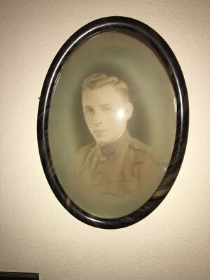 Large Vintage WWI Military Solider Photo Turtle Shell Frame Convex Glass 21x15