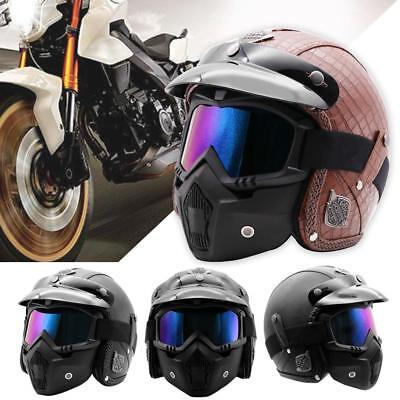 PU Leather 3/4 Open Face Motorcycle Chopper Bike Helmet with Goggle Mask