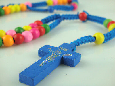 Blue Rope Rainbow Wooden Beads Religious Necklace Rosary With Blue Wooden Cross