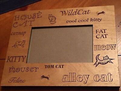 """Cat Picture Frame-wood frame with #cat sayings engraved #catlovers 4 x 6"""" photo"""