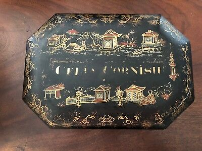 "Antique Chinese Export Lacquer Sewing Box ""CELIA CORNISH"" 19th C English Market"