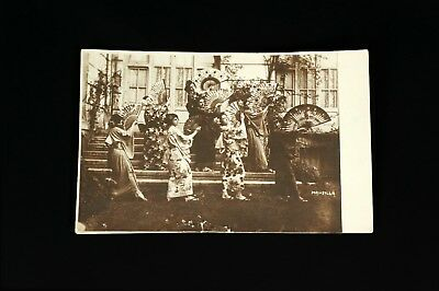 Old Real Photo Postcard 8 Women Ladies Dancing Fans Geisha Imitation RPPC Europe