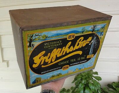 LARGE & RARE SOLDERED 12lb GRIFFITHS 1934 MELBOURNE CENTENARY TEA TIN Iin GC.