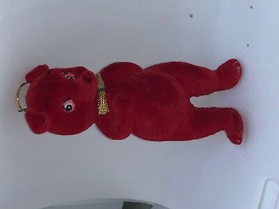 """Red flocked Pig Christmas 3""""  Made in Hong Kong blue eyes CollEctors Item 1950's"""