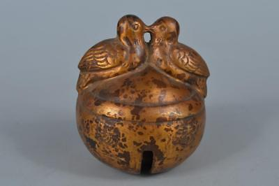 R766: Japanese Casting copper Bird sculpture BELL Buddhist art
