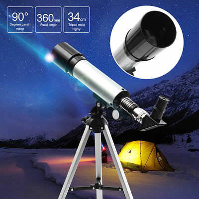 Astronomical Telescope,Nacatin 90X HD Outdoor Landscape Lens Monocular Telescope with Tripod 360X50mm 90 Degrees for Beginners /& Kids Sky Star Gazing Birds Watching,Silver