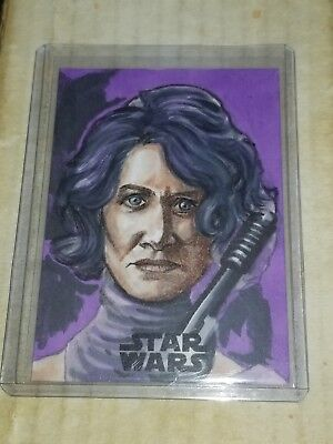 2018 Topps Star Wars TLJ Series 2 Vice Admiral Holdo Sketch by Matthew Hirons