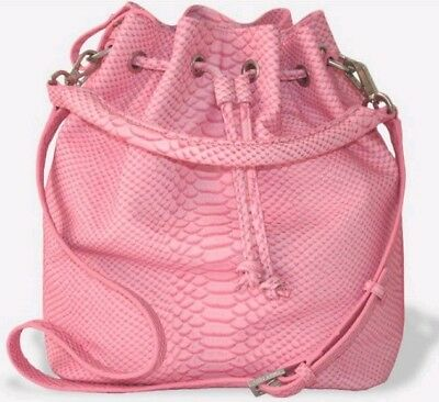 a5c315ee1e NWT $695 Emily Cho Pink Embossed Leather Alix Large Bucket/Shoulder Bag