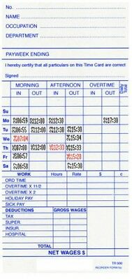 TR-900 500 Weekly Payroll Cards Employee Time Attendance For Easy Time
