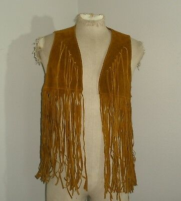 Vintage Womens RUSTIC FRINGED suede LEATHER festival gypsy hippie Boho VEST S