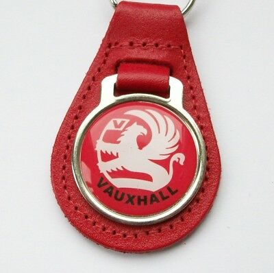 Vauxhall red leather keyring