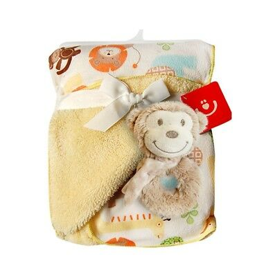 """Double layer blanket with soft rattle, Baby Gift Set,unisex, 76 (30"""")x 102 (40"""")"""