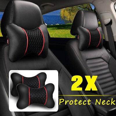 2Pcs PU leather Knitted Car Pillows Headrest Neck Cushion Support Seat Portable