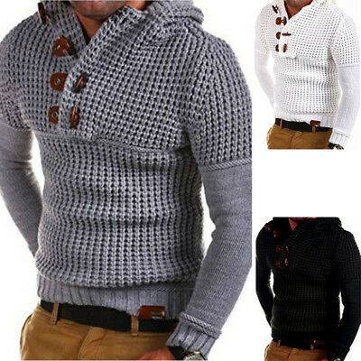 Mens Knitted Casual Jumper Sweater Hooded Pullover Long sleeve Tops Cardigan