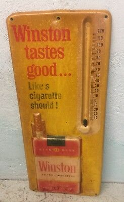 A Old Original Winston Cigarettes Metal Embossed 3D Thermometer Sign