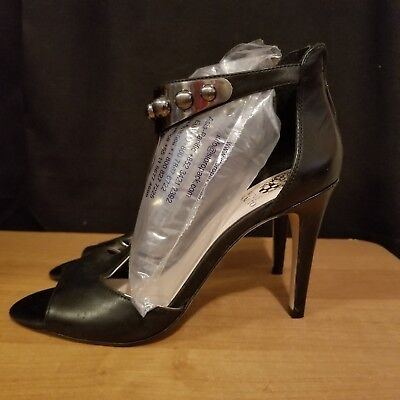 3d93fcb84397 VINCE CAMUTO BLACK Shimmery Open Toe Ankle Strap Heels Size 8.5 VC ...