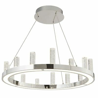 Searchlight Modern Led Round Ceiling Clear Bubble Glass Columns Chrome Light Fi