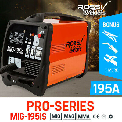 NEW ROSSI 195Amp Welder MIG ARC MAG Welding Machine Gas / Gasless Portable 195A