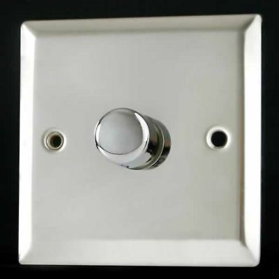 Varilight 1 Gang 1 Way 400W Rotary Dimmer Light Switch Mirror Chrome Finish HC1