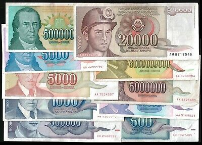 YUGOSLAVIA Banknotes all different LOT x 10 (A) 0.40 euros / note
