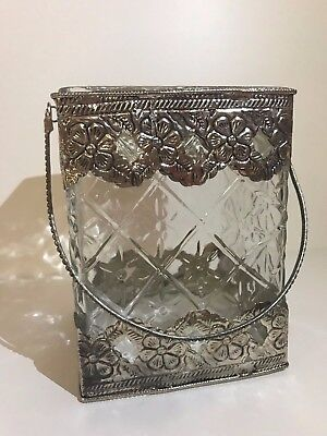 Antiqued Filigree Metal & Glass Candle Holder - Candles