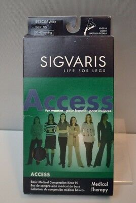 Sigvaris 973C Access 30-40 mmHg OPEN Toe Calf High Compression Socks BLACK SS