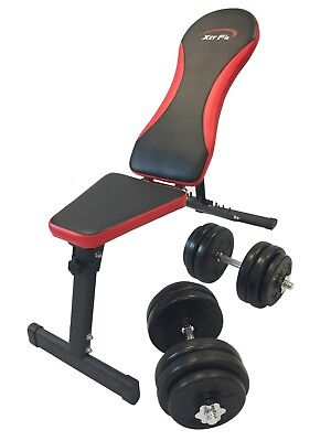 Weight Bench with 30kg Weight Set - adjustable incline decline flat