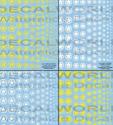 DECALS WWII US CIRCLE STARS  (1.5 - 10 mm)  CALCAS
