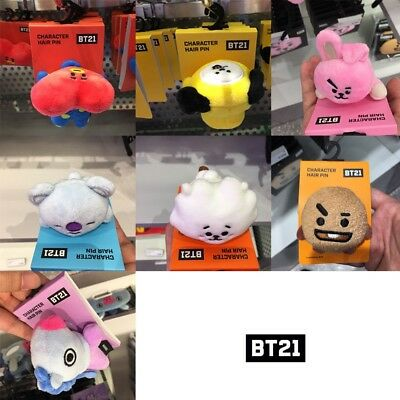 BTS BT21 Official Authentic Goods Character Hair Pin COOKY TATA CHIMY KOYA Etc