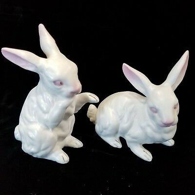 Set of 2 Vintage Norcrest White Bunnys Rabbits Pink Eyes & Ears Blue Stickers