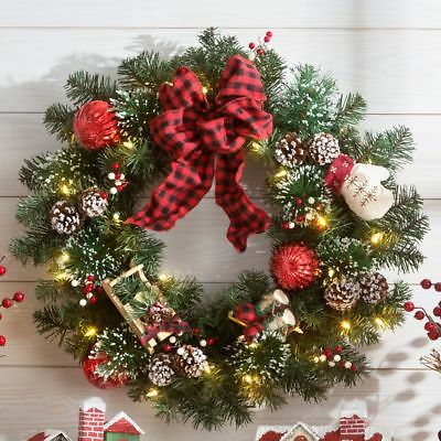 Country Christmas Pre Decorated & Pre Lit Faux Evergreen Door or Wall Wreath NEW
