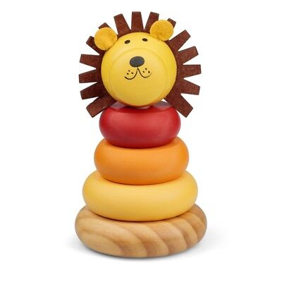 Lion Stacker - Wooden Ring Traditional Stacking Toy 12 Months Age Plus
