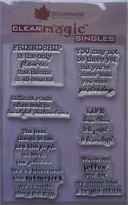 Woodware Clear Acrylic Stamp Set SOOTHING SENTIMENTS friendship memories