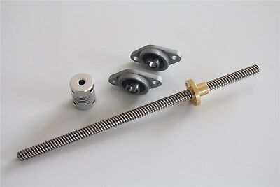 T8 8mm 500mm Lead Screw Rod with Nut Pillow Block Mounted CNC Set For 3D Prin R7