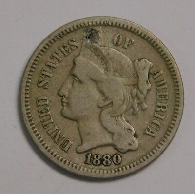 1880 3 Cent Nickel Better Date Small Hole Filled Check Pics!!
