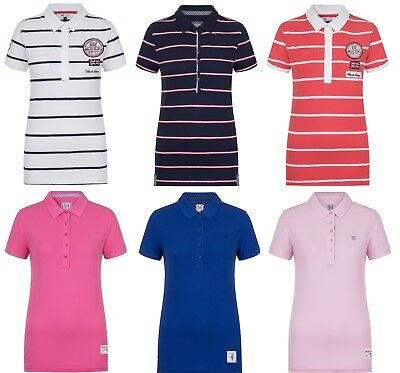 Ex Crew Clothing Womens Polo T Shirt Short Sleeve Ladies Top Classic Casual